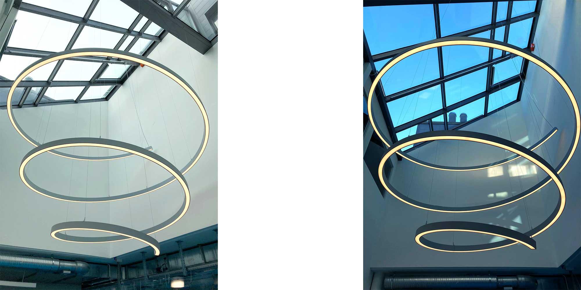 Spiralleuchte mit Liquid Line von Lightnet, es sind jegliche Formen in einer Leuchten formbar.