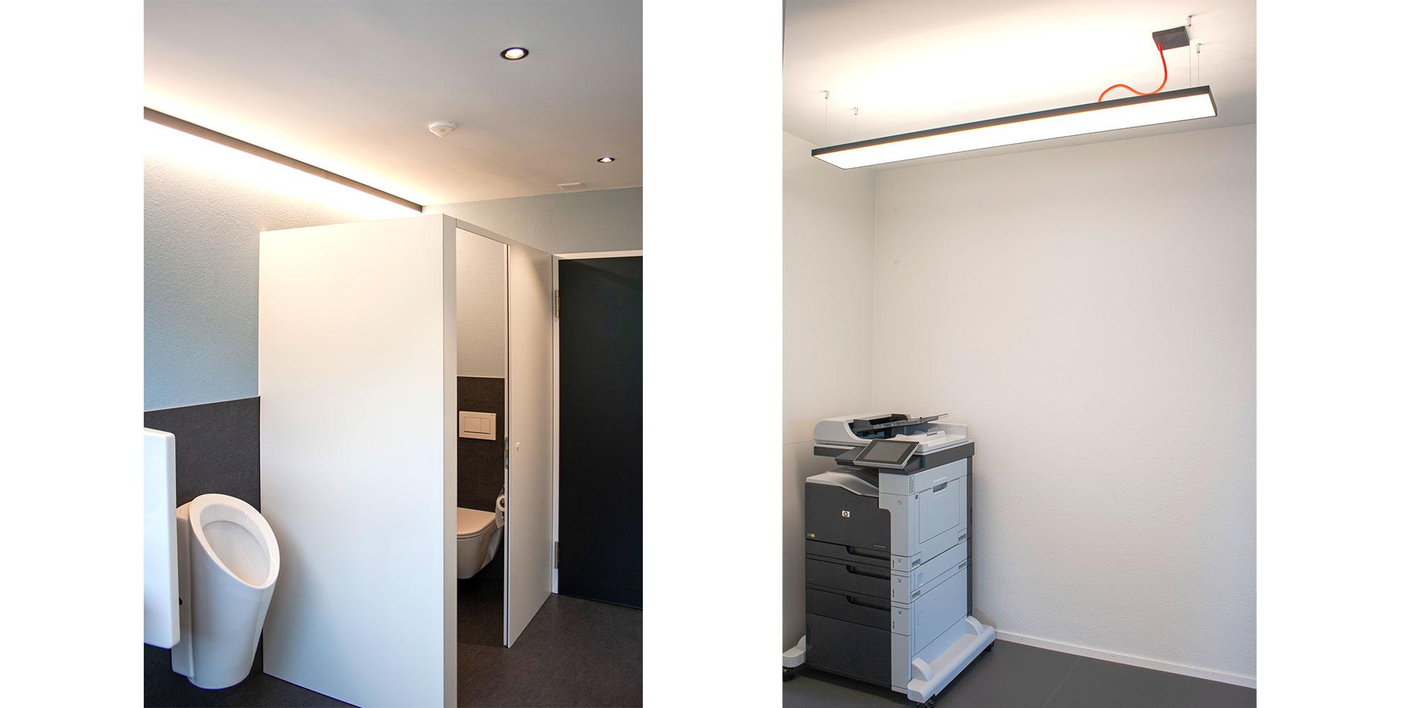 Die Toiletteten wurden elegant mit runden Einbauspots ausgestattet und mit Matric A1 Anbauleuchten von Lightnet linear ausgeleuchet. Der Druckerraum wurde mit der Cubic P5 Flächen- Pendelleuchte